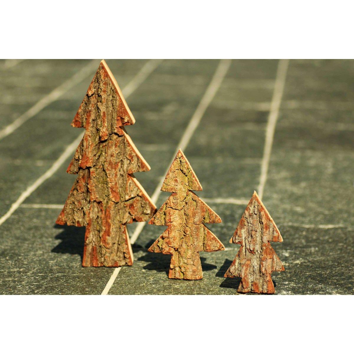Weihnachtsdeko Rinde.3x Holz Tanne Baum Set Aus Eiche Massivholz Mit Rinde Xl Höhe Ca