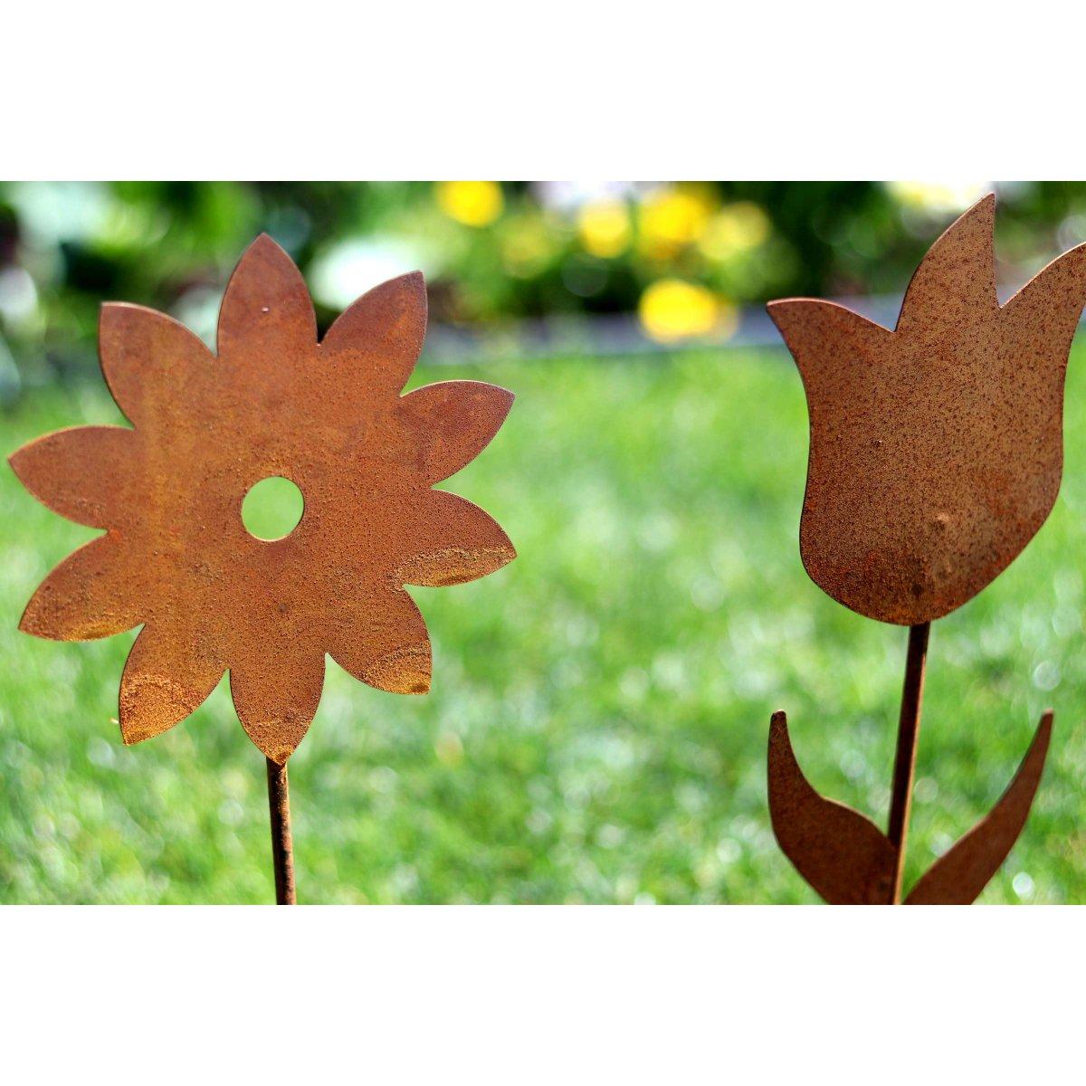 Blumen set aus metall zum stellen 2er set edelrost for Blumen aus rostigem metall