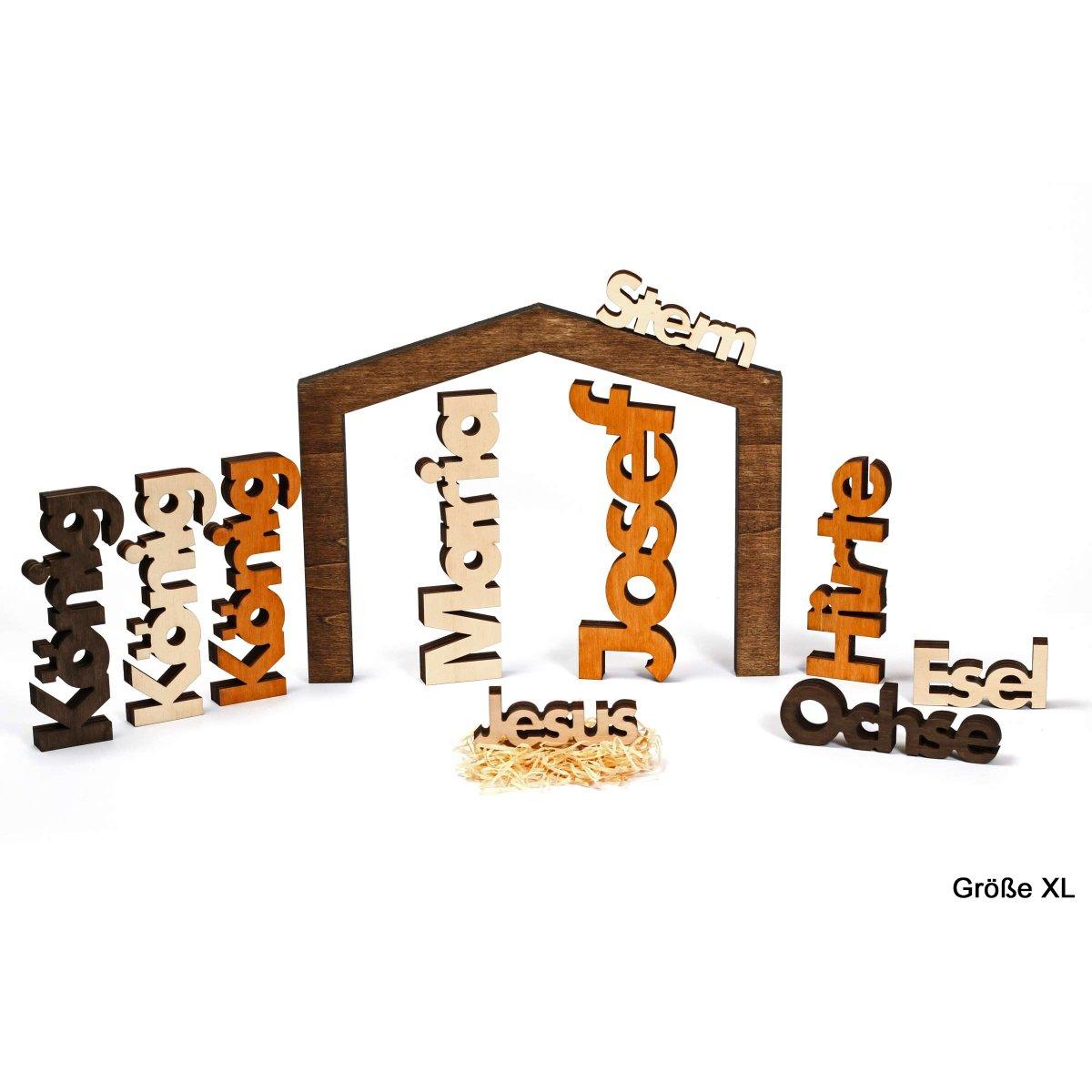 moderne weihnachtskrippe 11 teilig aus massivholz xl. Black Bedroom Furniture Sets. Home Design Ideas