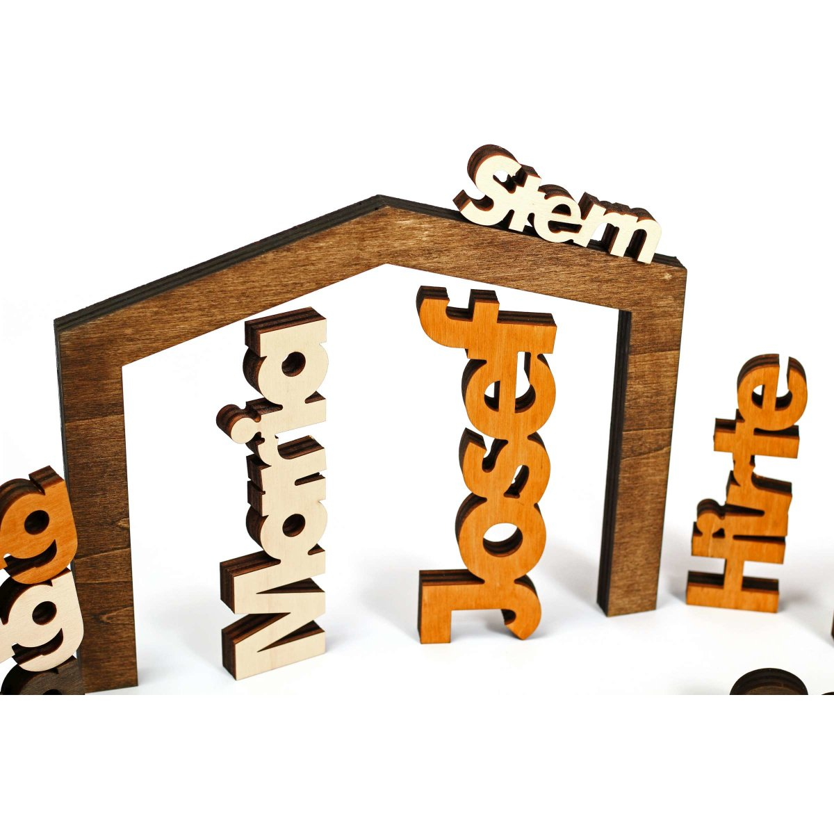 Weihnachtskrippe Modern.Moderne Weihnachtskrippe 11 Teilig Holz Farbig Geölt Puristisch Rustikal Exklusiv Made In Tirol Xl